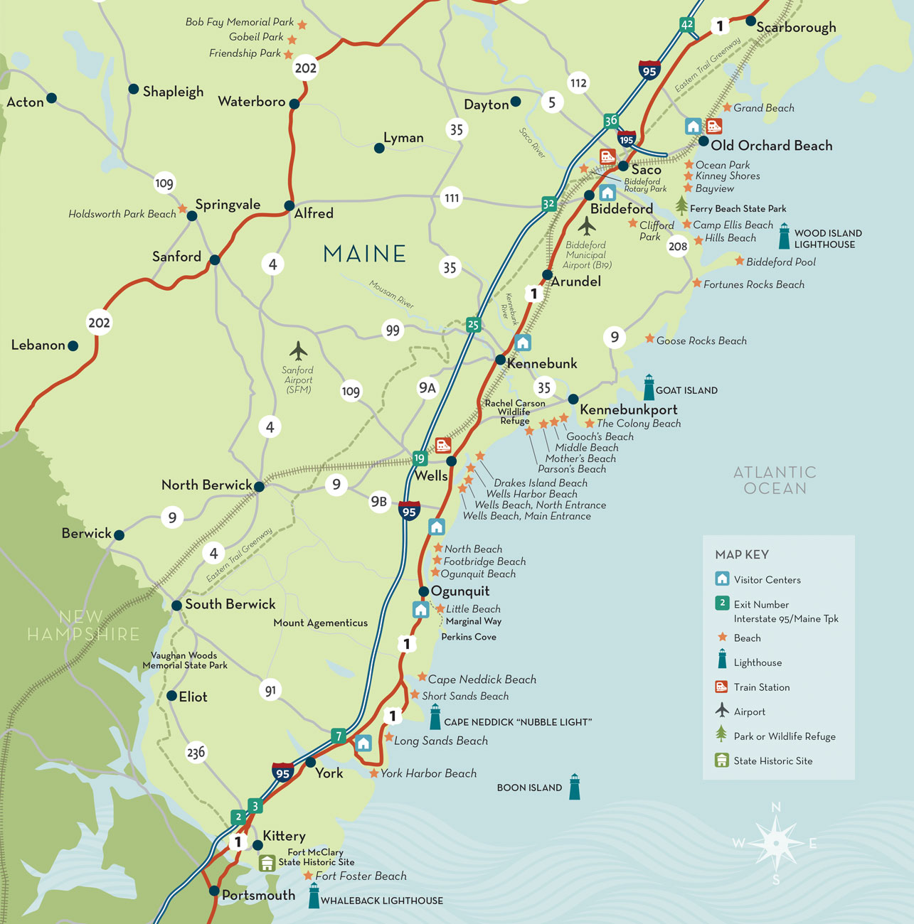 Map Of Maine Coastline Towns.Maine Beach Vacation Towns Ogunquit Kennebunk York Biddeford