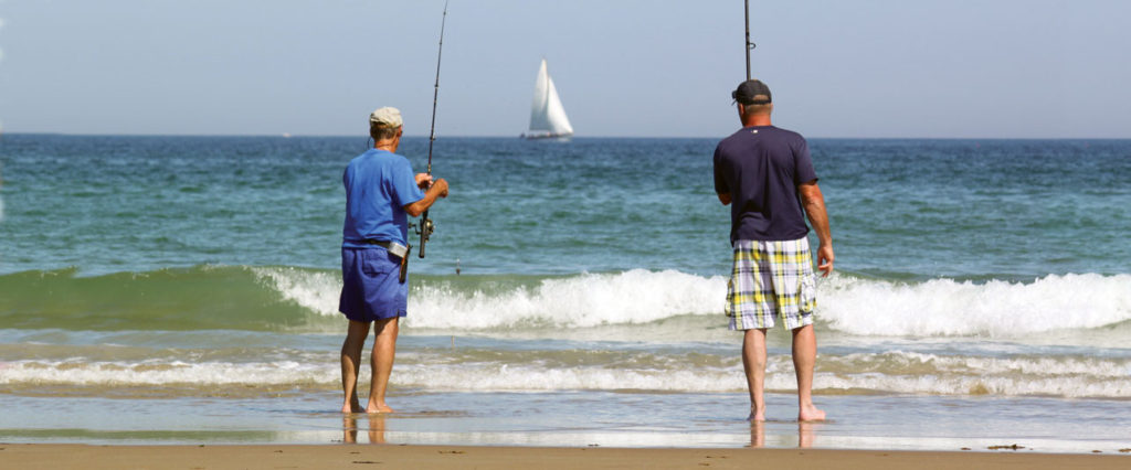 Surf casting for stripers